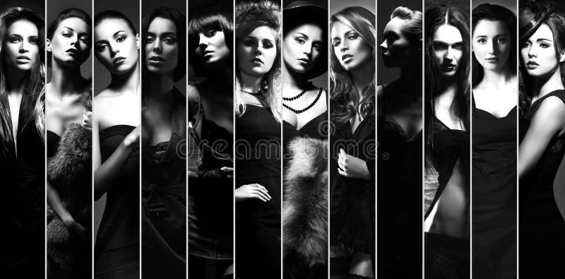 Coleção elegante de mulheres diferentes fotografia de stock royalty free