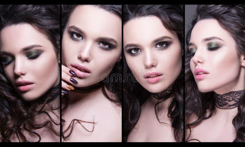 Coleção elegante de retratos da fêmea da beleza Caras da colagem das mulheres Foto da forma fotos de stock royalty free