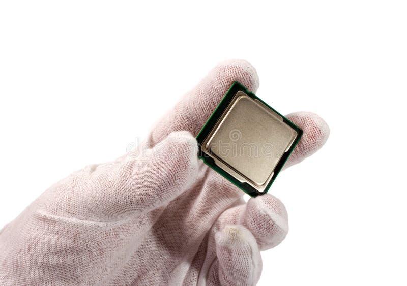 Coleção eletrônica - processador do computador à disposição isolado em w imagem de stock