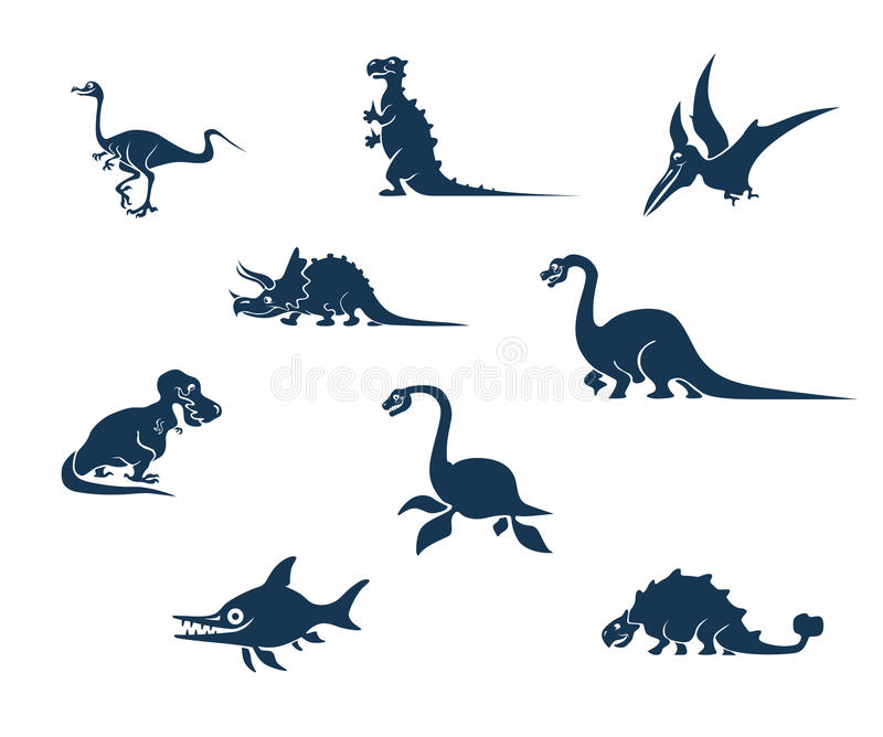 Coleção engraçada das silhuetas dos dinossauros ilustração royalty free