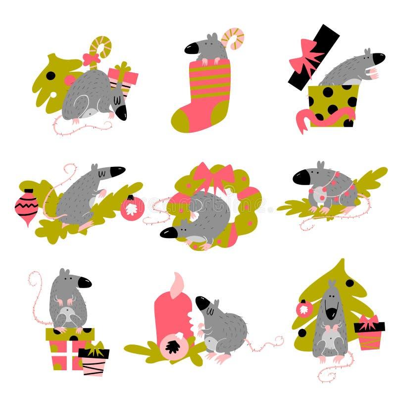 Coleção engraçada de ratos do Natal Símbolo de 2020 anos no calendário chinês Ilustra??o isolada desenhos animados do vetor ilustração stock