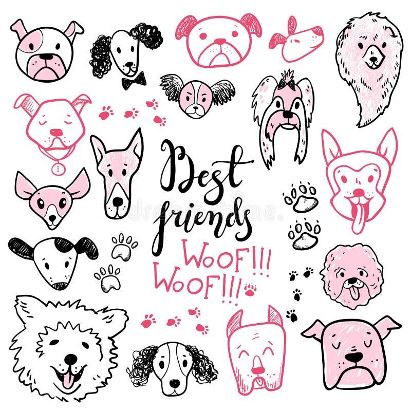 Coleção engraçada dos ícones do cão da garatuja Animal de estimação tirado mão, DES tirado criança ilustração do vetor