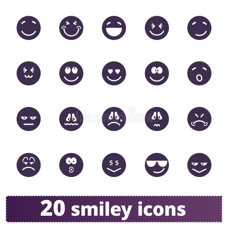 Coleção engraçada dos ícones do Emoticon ilustração royalty free