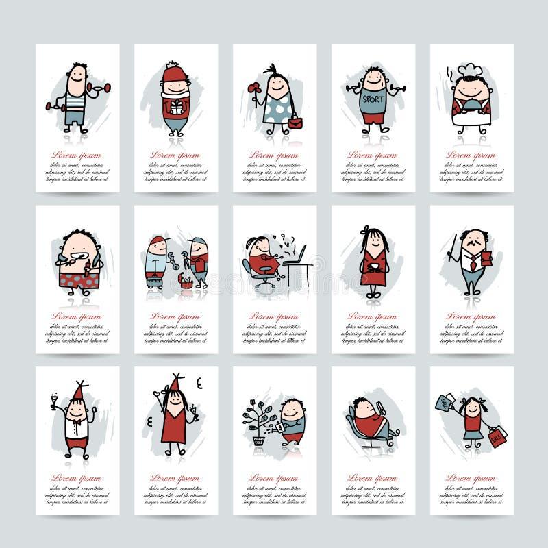 Coleção engraçada dos povos, cartões para o seu ilustração do vetor