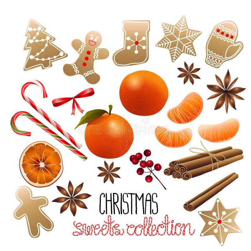 Coleção enorme de doces do Natal ilustração stock