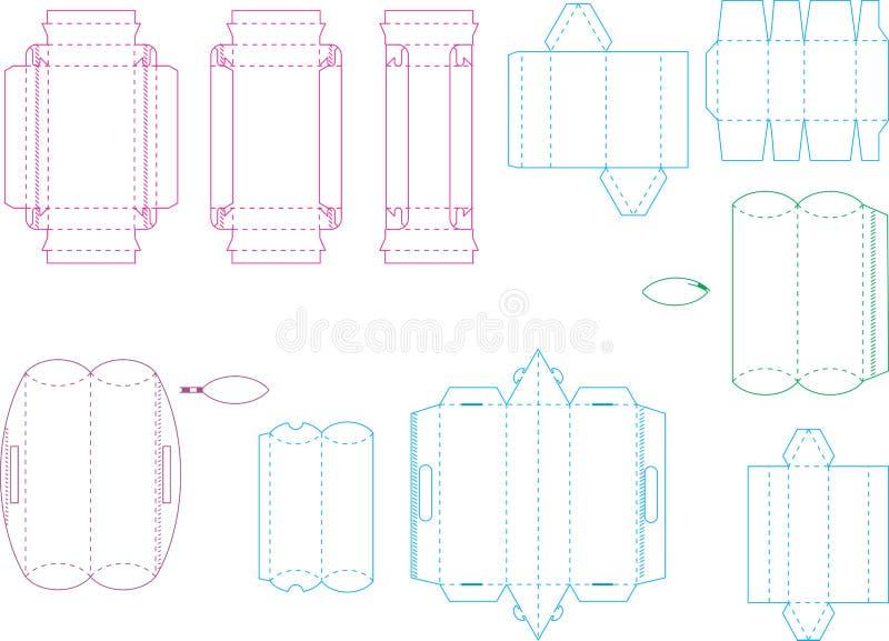 Coleção 06 eps do molde da caixa ilustração stock
