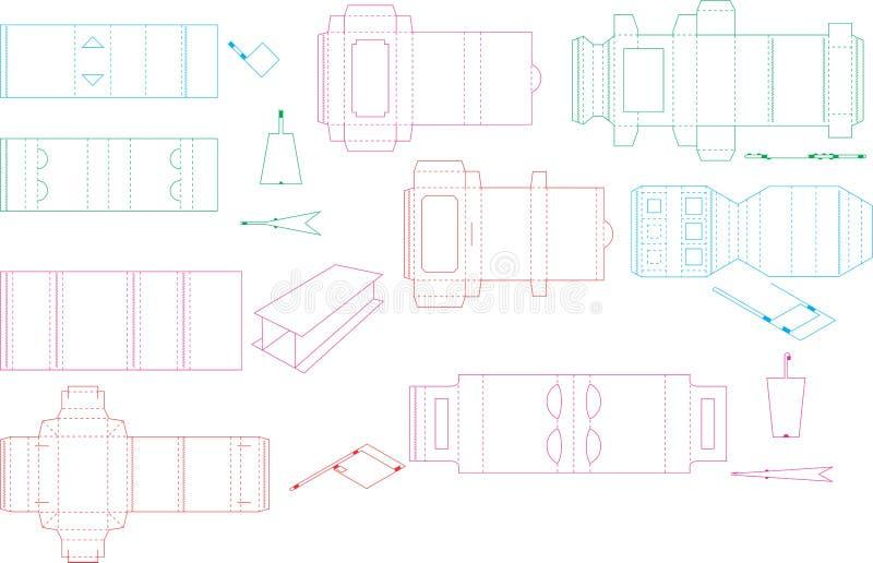 Coleção 09 eps do molde da caixa ilustração do vetor