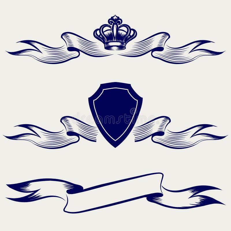 Coleção esboçada do esboço das bandeiras da fita ilustração royalty free