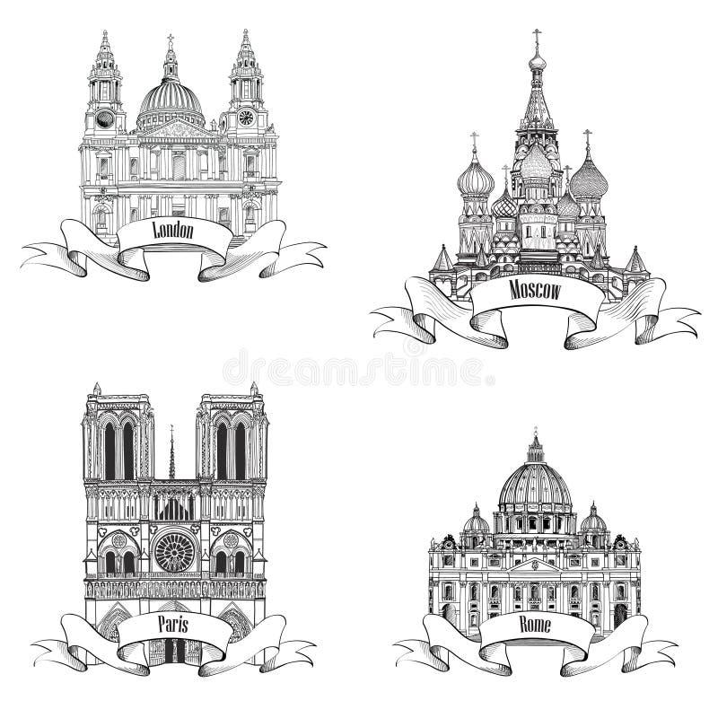 Coleção europeia do esboço dos símbolos das cidades: Paris, Londres, Roma, Moscou ilustração stock