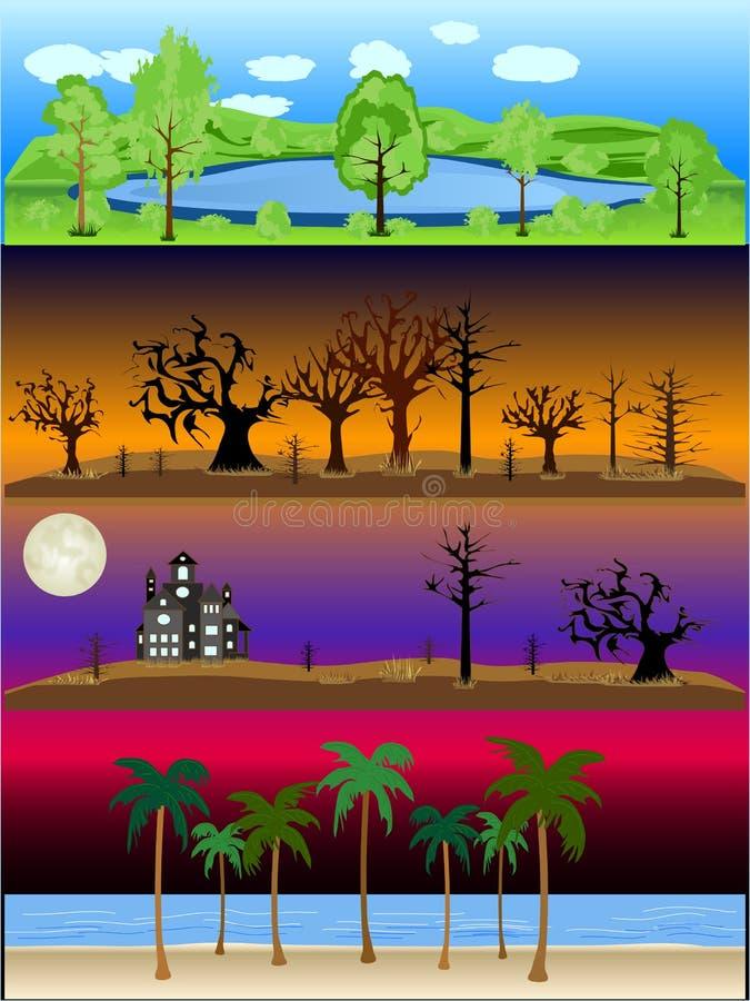 Coleção exterior da ilustração do vetor da cena das paisagens ilustração do vetor