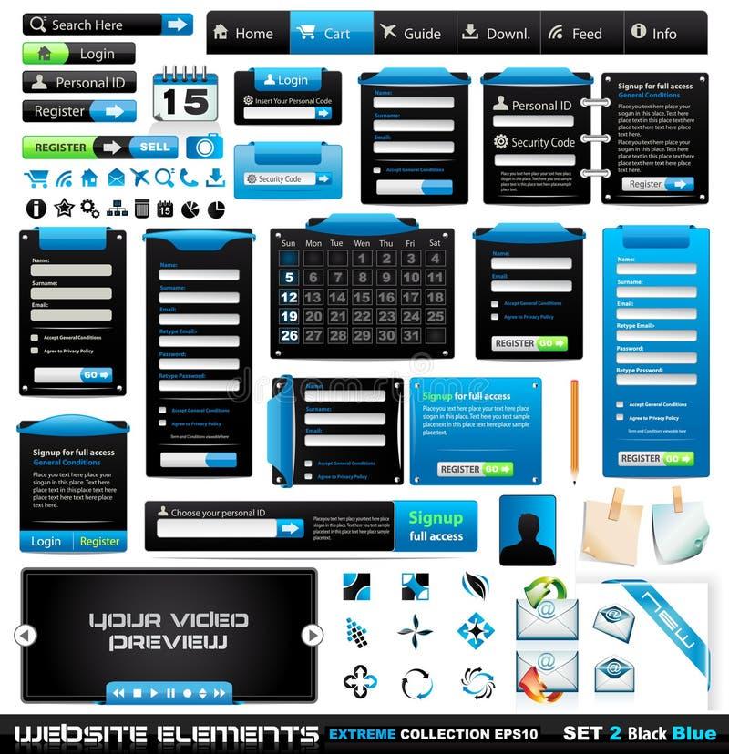 Coleção extrema 2 BlackBlue dos elementos do projeto de Web ilustração do vetor