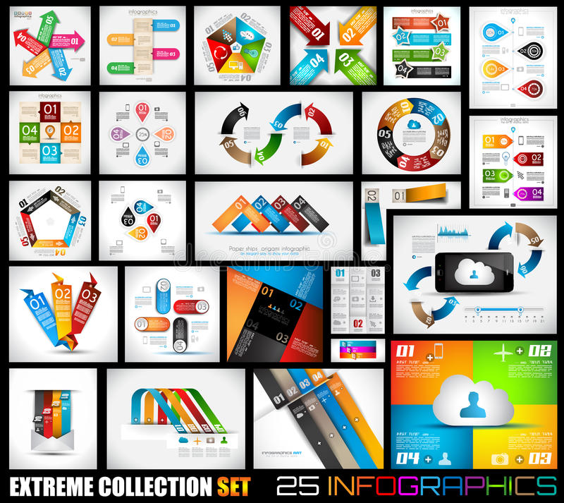 Coleção extrema 25 da qualidade Infographics ilustração stock