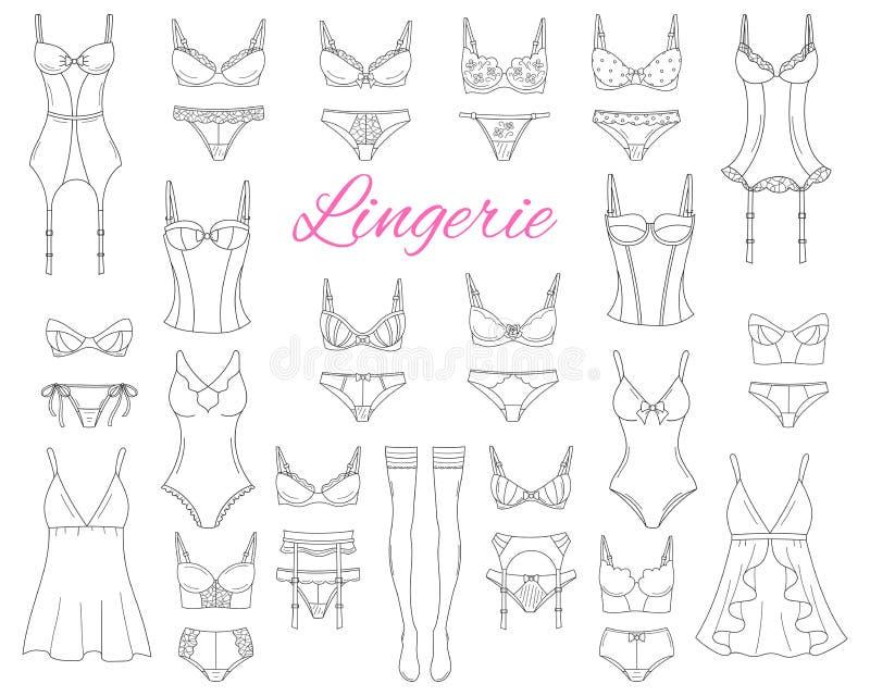 Coleção fêmea elegante da roupa interior, ilustração do esboço do vetor ilustração royalty free