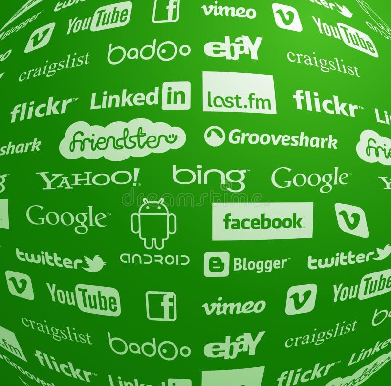 Coleção famosa do logotipo no globo ilustração do vetor