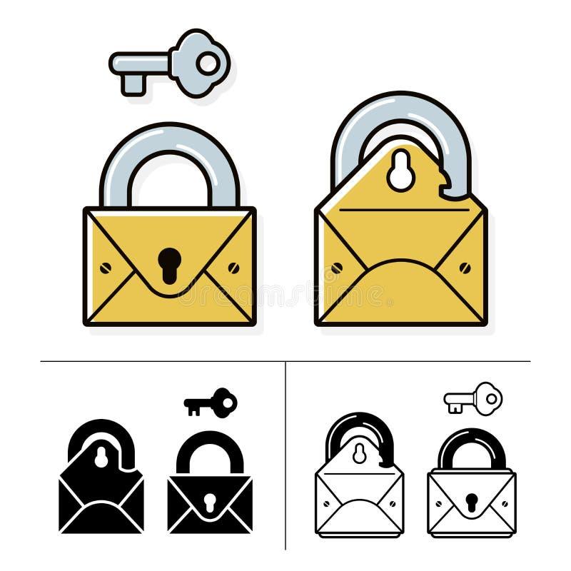 Coleção fechado do ícone do correio com cadeado e chave ilustração stock