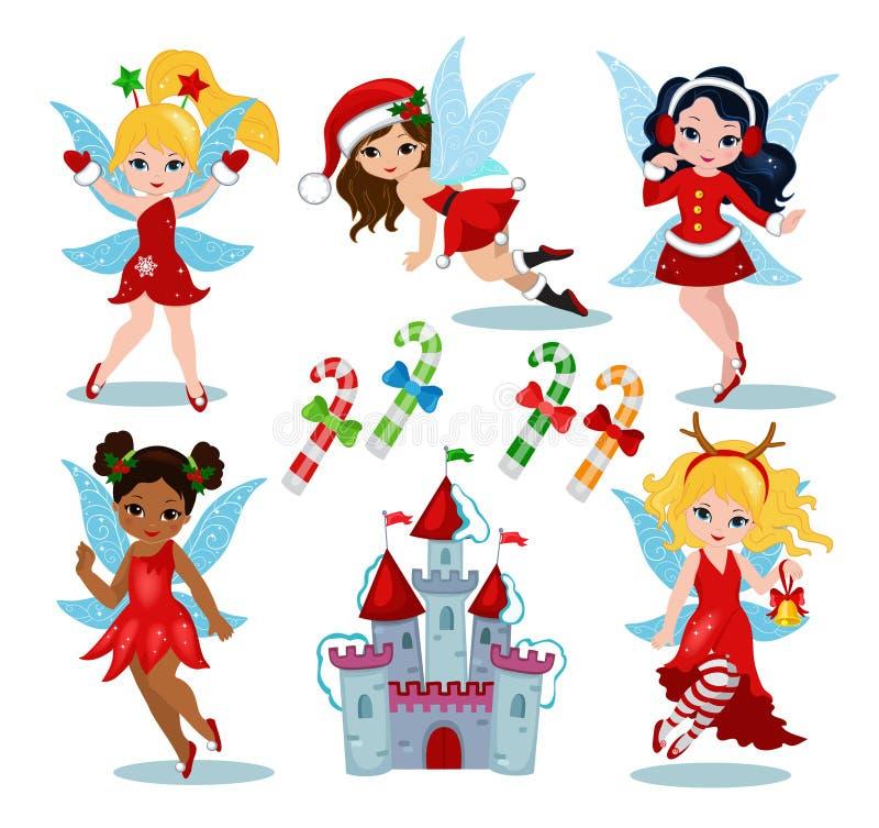 Coleção feericamente do inverno do Natal Ilustração do vetor ilustração royalty free