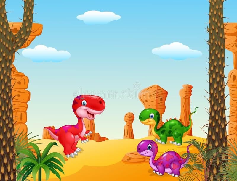 A coleção feliz do dinossauro dos desenhos animados ajustou-se com fundo pré-histórico ilustração stock