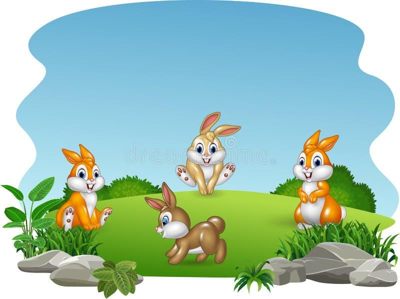Coleção feliz dos coelhos dos desenhos animados com fundo da natureza ilustração do vetor