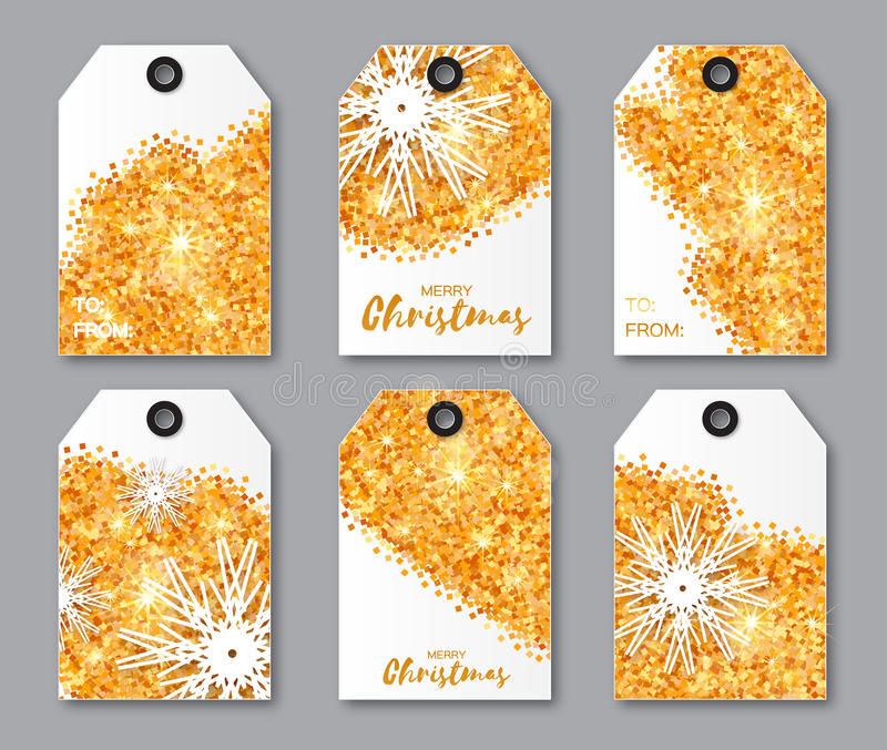 Coleção festiva de etiquetas do Natal da textura do brilho do ouro ilustração do vetor