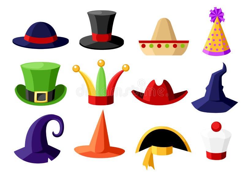 Coleção festiva do carnaval do divertimento da ilustração bonito da celebração e do chapéu do disfarce isolada na página branca d ilustração do vetor