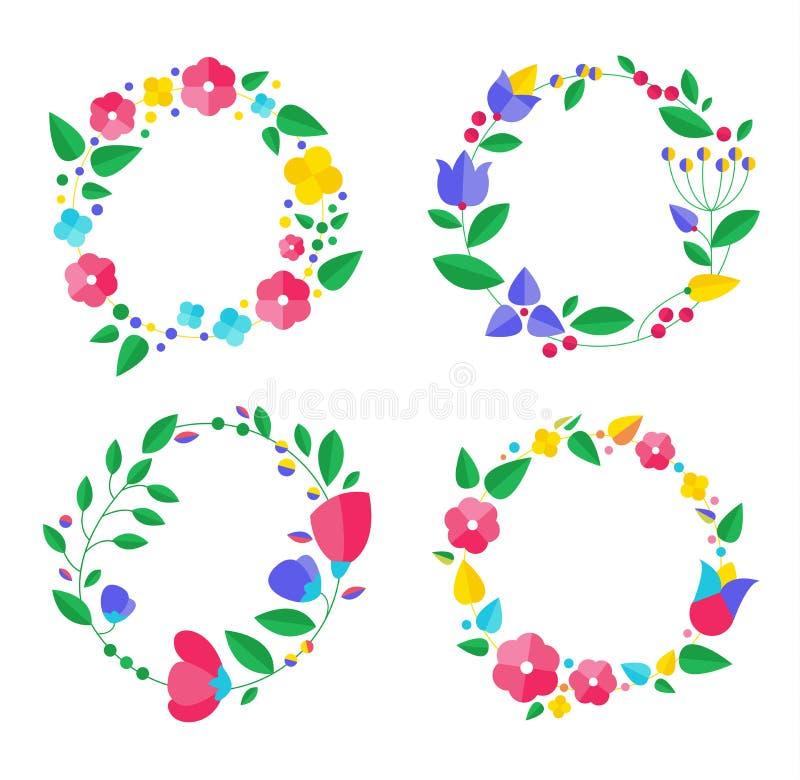 Coleção floral do quadro Grupo de flores retros bonitos ilustração stock
