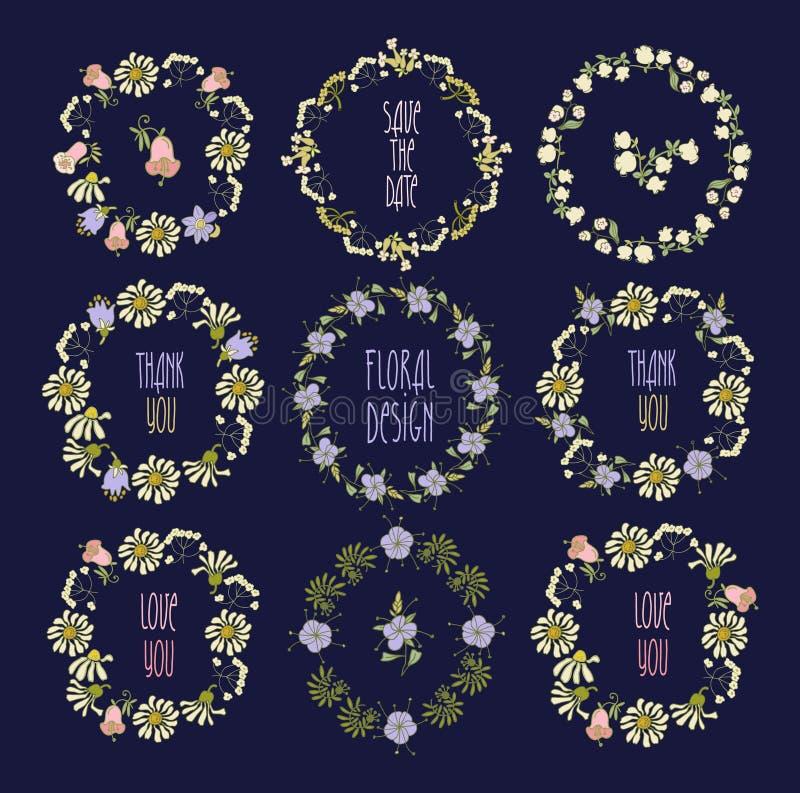 Coleção floral do quadro Grupo de flores retros bonitos ilustração do vetor