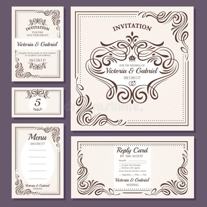 Coleção floral dos cartões de casamento do vintage caligráfico ilustração do vetor