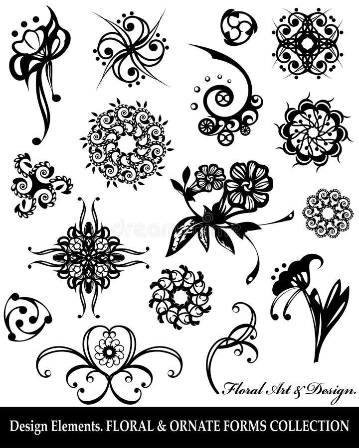 Coleção floral dos elementos do projeto ilustração do vetor