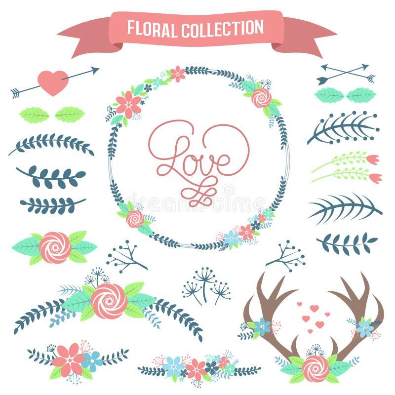 Coleção floral Grupo de flores retros bonitos e de ramos ilustração stock