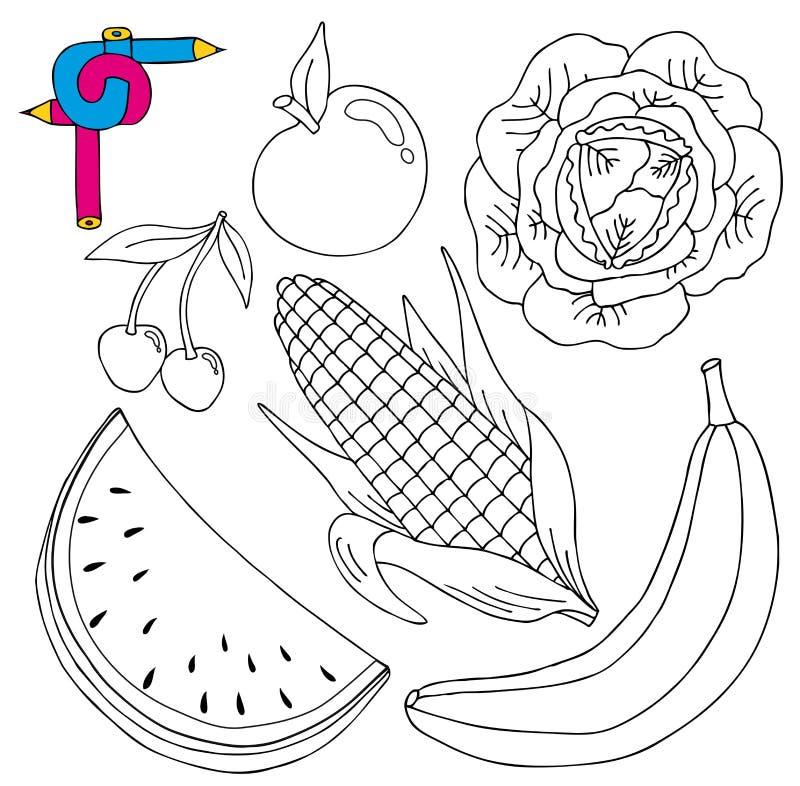 Coleção fresca da imagem da coloração ilustração royalty free