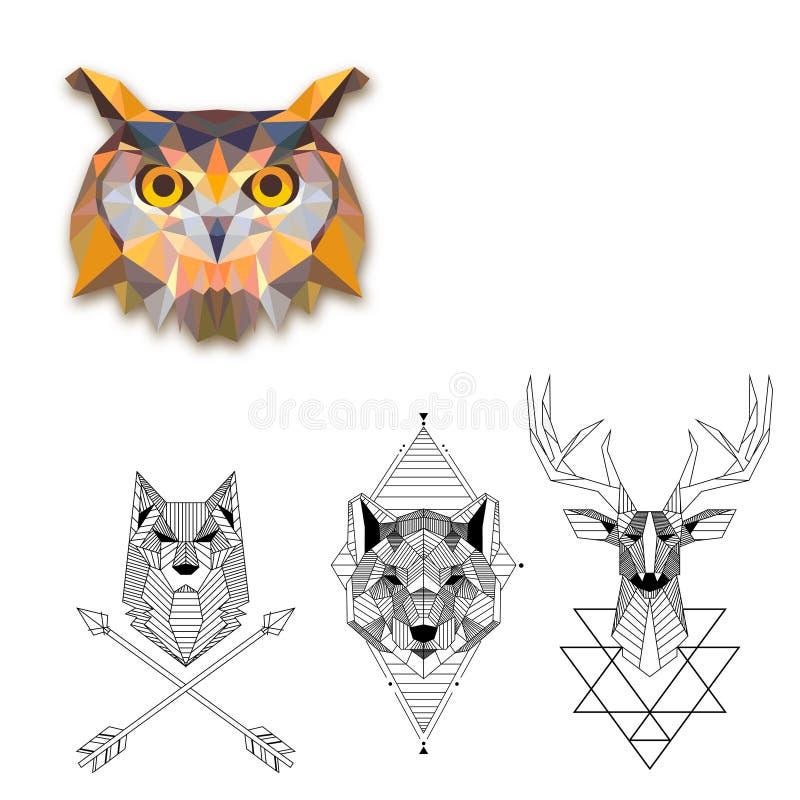 Coleção geométrica das tatuagens ilustração do vetor