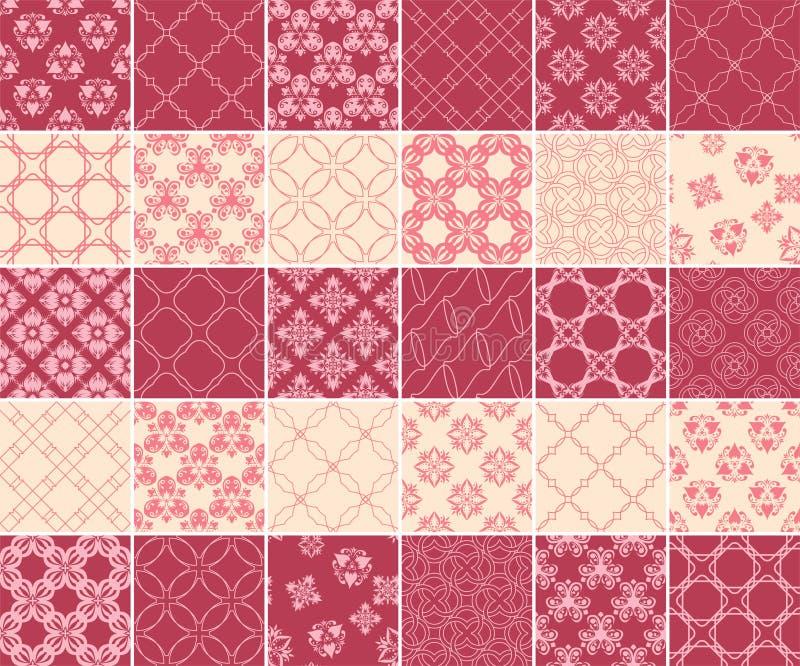Coleção geométrica e floral de testes padrões sem emenda Fundos do vermelho e do bege de cereja ilustração do vetor