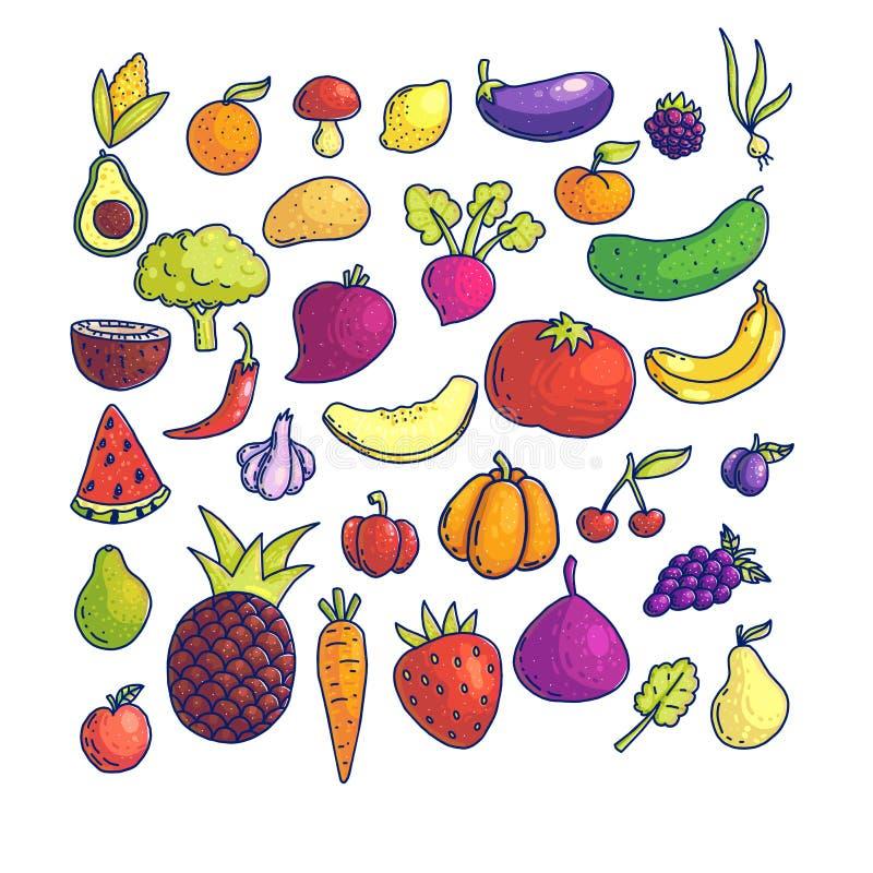 Coleção gráfica colorida das frutas e legumes ilustração royalty free