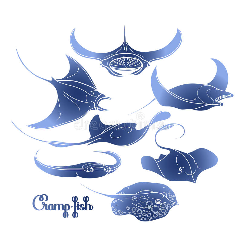 Coleção gráfica dos peixes do grampo ilustração stock