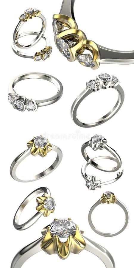Coleção grande com aneis de diamante Fundo preto da jóia da tela do ouro e da prata fotos de stock royalty free