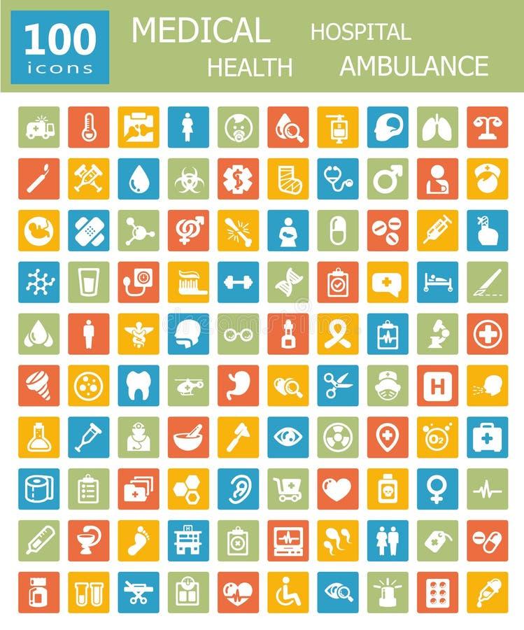 Coleção grande de ícones médicos ilustração stock