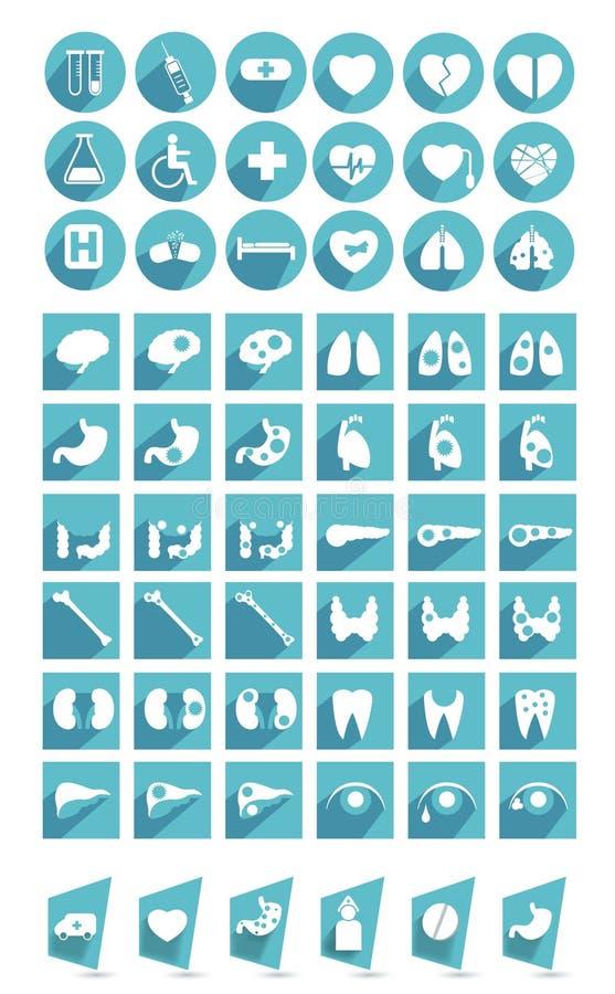 Coleção grande de ícones médicos lisos ilustração do vetor