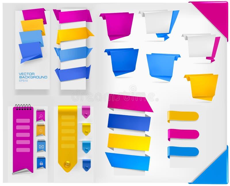 Coleção grande de bandeiras coloridas do papel do origami ilustração do vetor