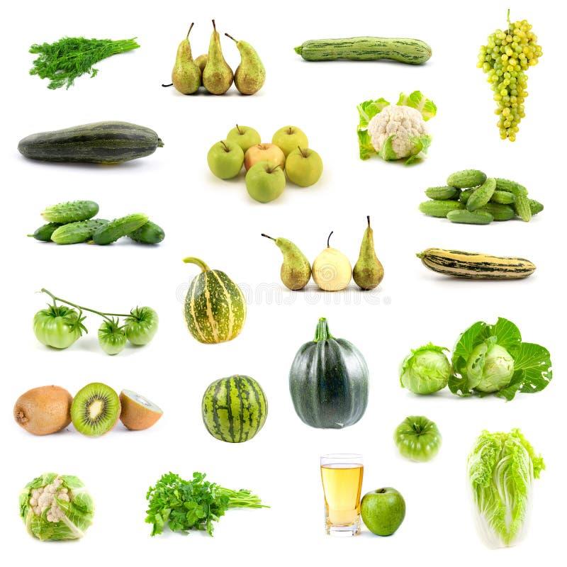 Coleção grande de vegetais e de frutas verdes fotografia de stock royalty free