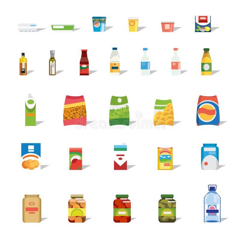 Coleção grande do ícone liso do vetor do alimento e das bebidas ilustração stock