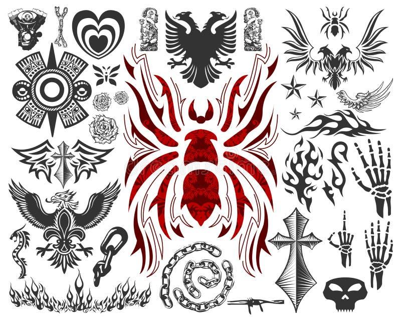 Coleção grande do tatuagem (elementos do tatuagem - símbolos) ilustração do vetor