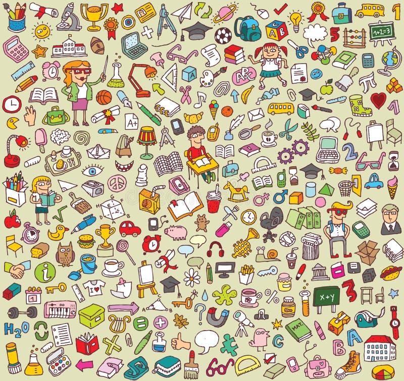 Coleção grande dos ícones da escola e da educação ilustração do vetor
