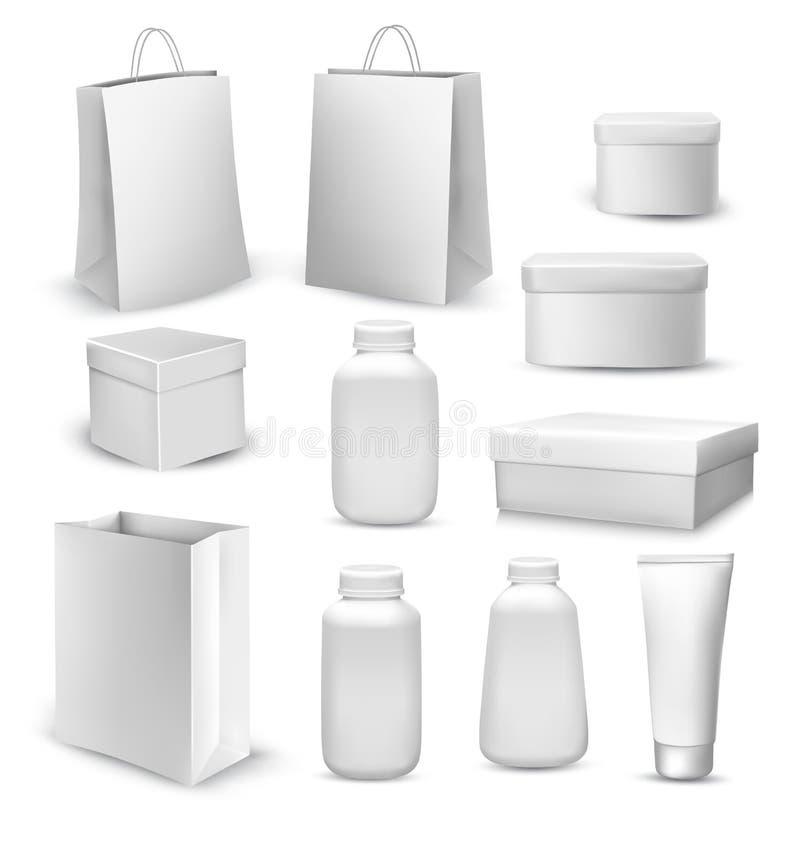 Coleção grande dos sacos de compras, caixas de presente, recipientes plásticos ilustração royalty free