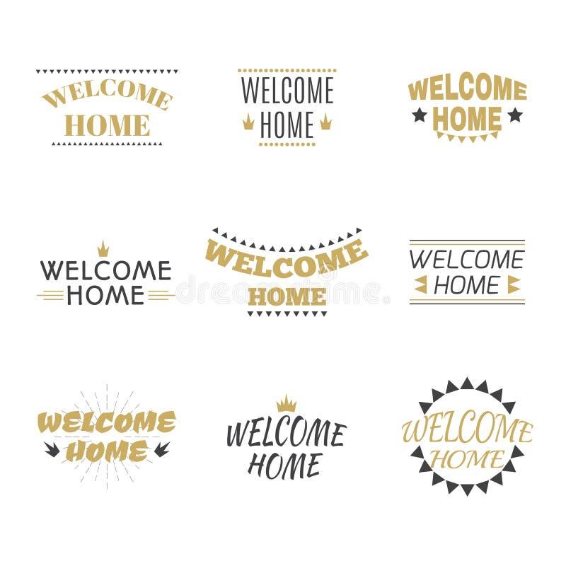 Coleção home bem-vinda Grupo de etiquetas, de emblemas, de etiquetas ou de mau ilustração do vetor