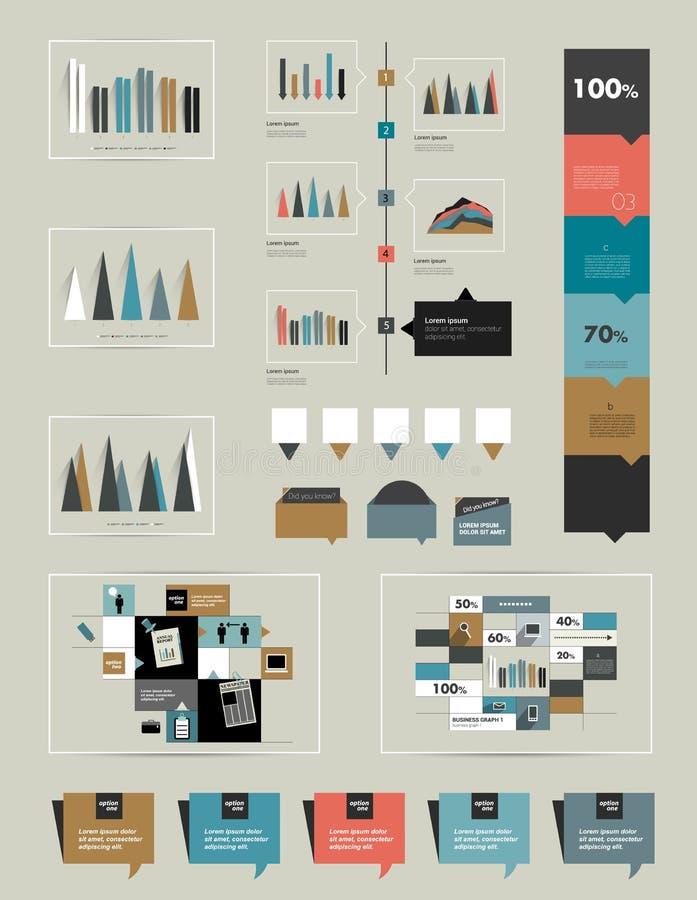 A coleção infographic lisa das cartas, gráficos, discurso borbulha, esquemas, diagramas ilustração do vetor