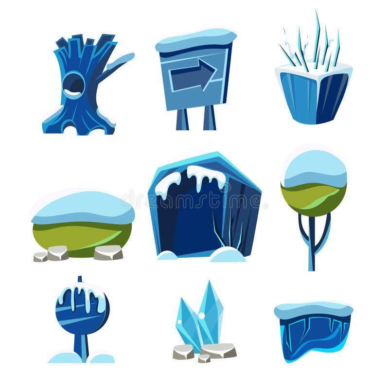 Coleção instantânea do projeto do nível do inverno do jogo dos elementos ilustração stock