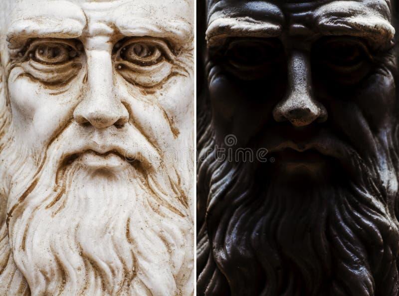 Coleção inteira da cara da opinião frontal de Leonardo da Vinci fotografia de stock
