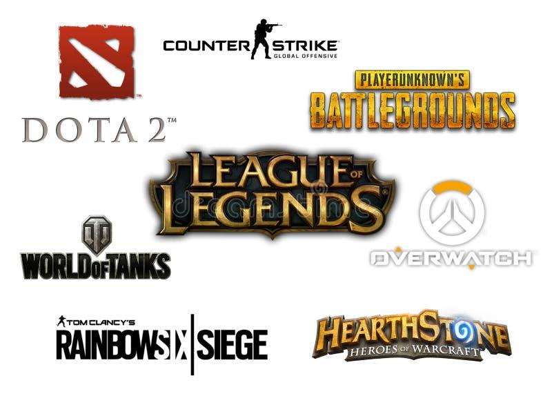 Coleção isolada do logotipo da maioria de jogos de vídeo para múltiplos jogadores populares ilustração stock