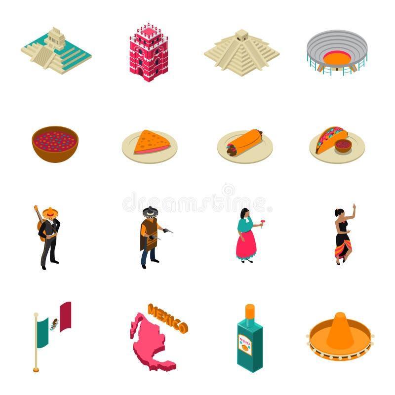 Coleção isométrica dos ícones das atrações turísticas de México ilustração do vetor
