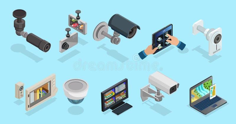 Coleção isométrica dos elementos do CCTV ilustração stock